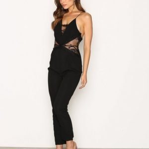 Rare London Lace Panel Tailored Leg Jumpsuit Black