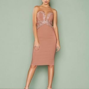 Rare London Lace Trim Midi Dress Kotelomekko Pink