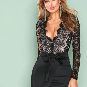 Rare London Long Sleeve Lace Eyelash Bodysuit Body Black