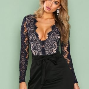 Rare London Long Sleeve Lace Eyelash Bodysuit Body Navy