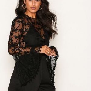 Rare London Mesh Bell Sleeve Playsuit Black