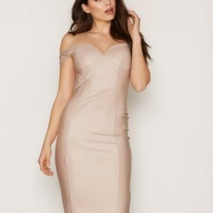 Rare London Off Shoulder Midi Dress Kotelomekko Beige