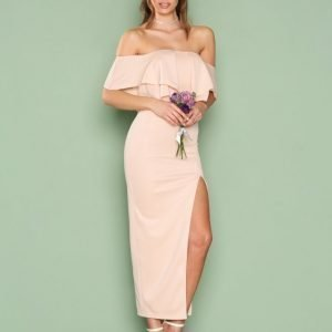 Rare London Off Shoulder Ruffle Maxi Dress Maksimekko Blush