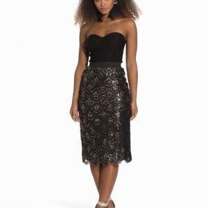 Rare London Scallop Sequin Bustier Midi Dress