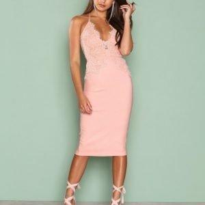 Rare London Scalloped Edge Midi Dress Kotelomekko Pink