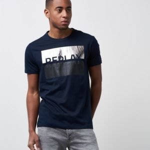 Replay Logo Block Tee Midknight Blue