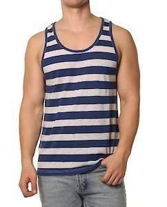 Ringled Jaquard Tank Blue-White