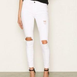 River Island Amelie Super Skinny Ripped Jeans Farkut White