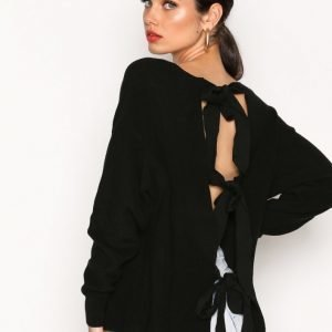 River Island Backless Tie Jumper Neulepusero Black