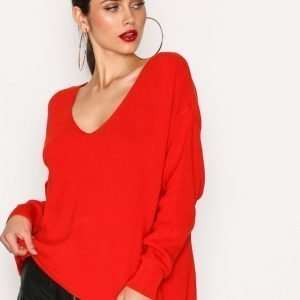 River Island Backless Tie Jumper Neulepusero Red