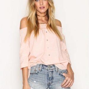 River Island Bardot Poplin Shirt Arkipaita Pink