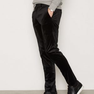 River Island Black Velvet Trousers Housut Black