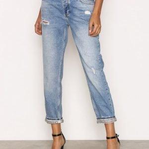 River Island Bling Hem Jeans Loose Fit Farkut Mid Blue