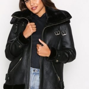 River Island Brooklyn Aviator Jacket Tekoturkki Black
