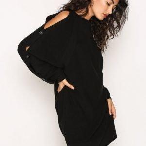 River Island Buttons Dress Loose Fit Mekko Black