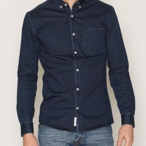River Island Dark Denim Skinny Shirt Kauluspaita Dark Blue