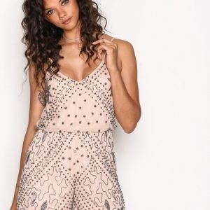 River Island Embellished Cami Playsuit Champagne