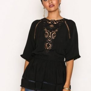 River Island Embroidered Top Tunika Black