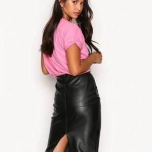 River Island Faux Leather Panel Pencil Skirt Midihame Black