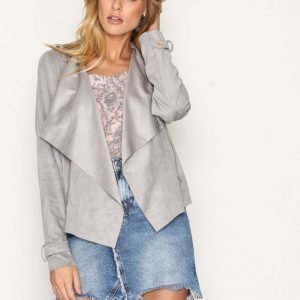 River Island Faux Suede Waterfall Biker Jacket Nahkatakki Grey