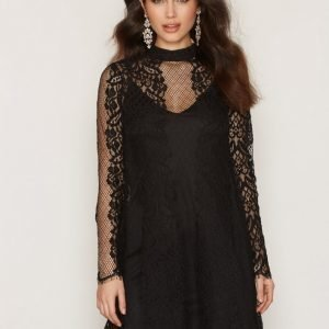River Island Fluted Lace Mini Dress Pitkähihainen Mekko Black