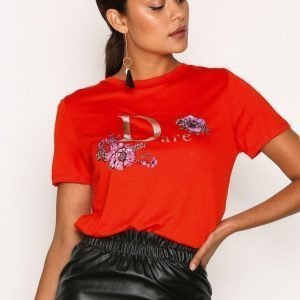 River Island Foil Easy Fitted Tee T-Paita Red
