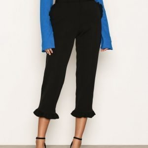 River Island Frill Hem Cropped Trousers Housut Black