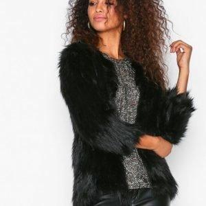 River Island Fur Coat Tekoturkki Black