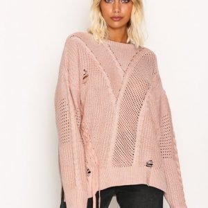 River Island Ladder Knitted Jumper Neulepusero Light Pink