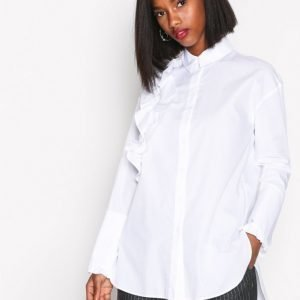 River Island Long Sleeve Frilly Shirt Arkipaita White