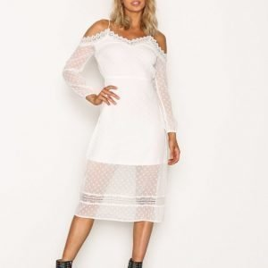 River Island Ls Bardot Dress Loose Fit Mekko White