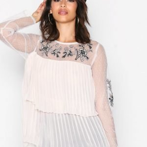 River Island Ls Embellished Top Juhlapaita Cream