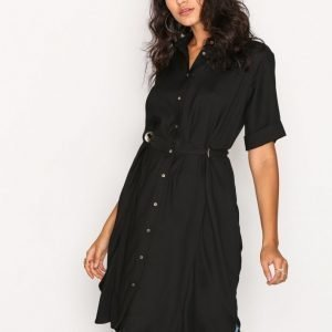 River Island Ls Eyelet Shirt Dress Loose Fit Mekko Black