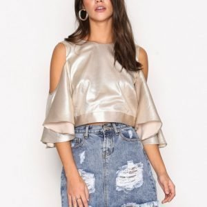 River Island Metallic Cold Shoulder Frill Sleeve Top Juhlapaita Metallic