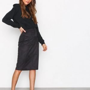 River Island Pencil Suedette Skirt Midihame Black