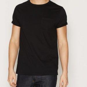 River Island Pocket Roll Sleeve T-paita Black