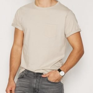 River Island Pocket Roll Sleeve T-paita Stone