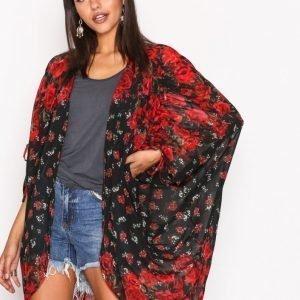River Island Print Longline Cardigan Kimono Black / Red