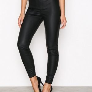 River Island Pu Mid Rise Skinny Trouse Housut Black