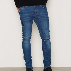 River Island Ronin Open Patch Farkut Mid Blue