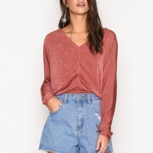 River Island Rouched Batwing Top Pitkähihainen Paita Pink