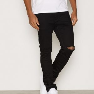 River Island Skinny Black With Rips Farkut Black