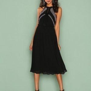 River Island Sl Nile Embroidered Dress Loose Fit Mekko Black
