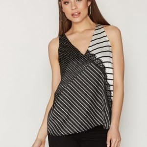 River Island Sl Stripe Lace Top Toppi Black