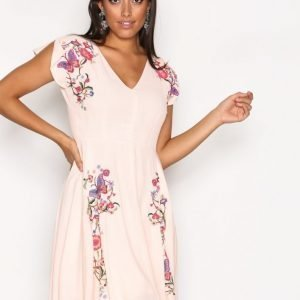 River Island Sless Embroided Dress Loose Fit Mekko Cream