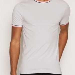 River Island Sporty Tipped Muscle T-paita Light Grey