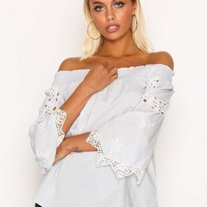 River Island Ss Lace Sleeve Bardot Top Pusero Light Blue