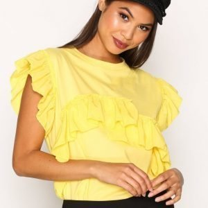 River Island Ss Mix Frill Tee Pusero Yellow