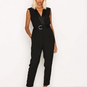 River Island Tapered Leg Jumpsuit Black