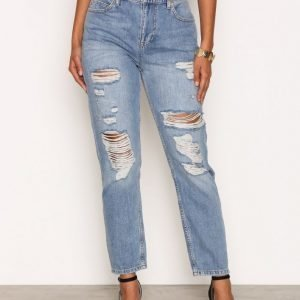 River Island Wash Ripped Mom Jeans Loose Fit Farkut Mid Blue